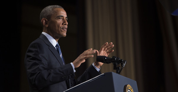 U.S. President Barack Obama delivers remarks at the National Prayer Breakfast on February 4, 2016 in Washington, DC. The National Prayer Breakfast is in it's 63rd year. (Pool/Getty Images North America)
