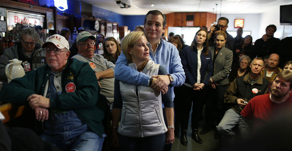 Republican presidential candidate Sen. Ted Cruz (R-TX) hugs his wife, Heidi Cruz, before he is introduced during a campaign event at 3 Generations Bar & Grill on January 29, 2016 in Ringsted, Iowa. (Joe Raedle/Getty Images North America)