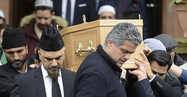 Hundreds turned out for the funeral of Asad Shah who was murdered after posting a 'Happy Easter' message (SWNS.com)