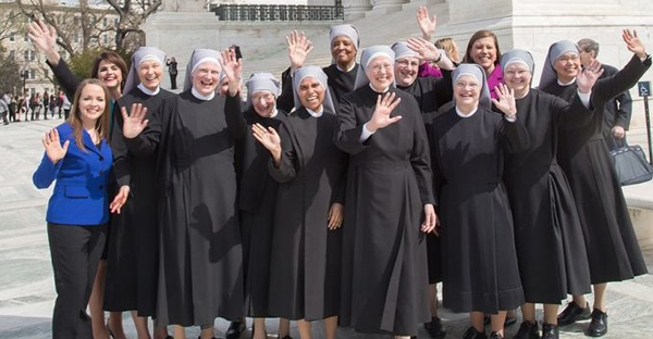 Little Sisters of the Poor outside the Supreme Court after oral arguments for their case against the HHS Mandate. (Becket Fund for Religious Liberty.)
