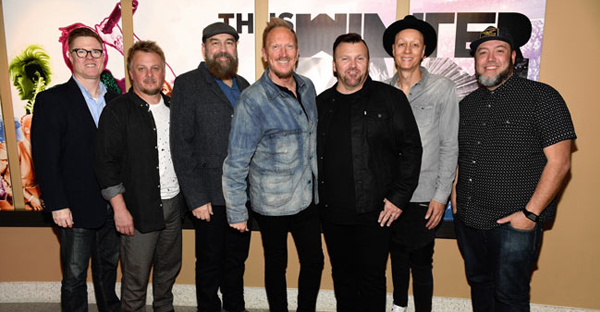 "Pictured on last week's ""This Is Winter Jam"" red carpet: (l-r) film producer and Winter Jam/NewSong manager Troy VanLiere; NewSong's Jack Pumphrey, Billy Goodwin, Eddie Carswell, Russ Lee and Rico Thomas; and director Nathan Corrona. (all photos: Jason Davis/Getty Images)"