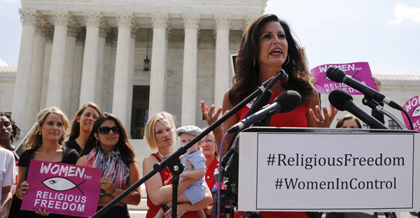Penny Nance, CEO of Concerned Women for America, speaks to anti-abortion activists in front of the U.S. Supreme Court Building, June 2014. (Photo: Reuters/Jim Bourg)