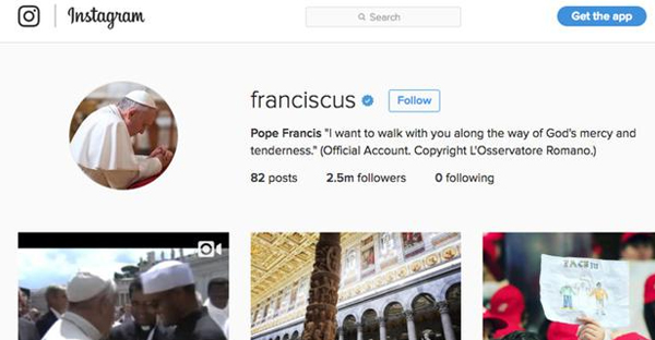 Social media sites are a challenging new frontier for faith communities. It's hard to become as popular as Pope Francis. (Instagram)