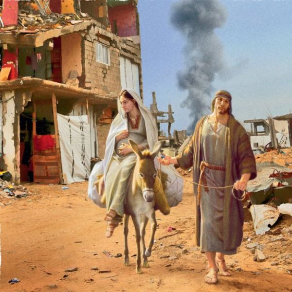 One image shows Mary and Joseph travelling through a bombed-out city (DOCTORS OF THE WORLD UK)