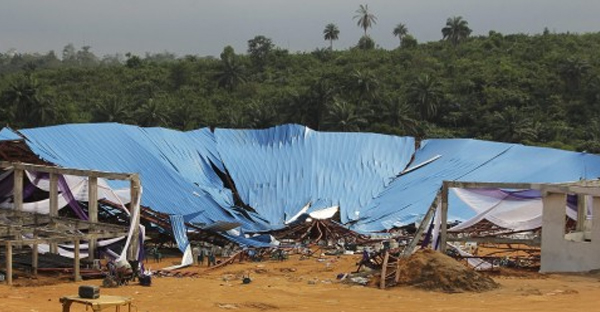 Hundreds were inside Reigners Bible Church International for the episcopal ordination of its founder Saturday when the metal girders fell and the corrugated iron roof caved in. (Tife Owolabi/European Pressphoto Agency)