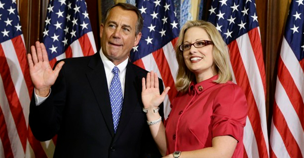 Arizona Representative Kyrsten Sinema is the only member of Congress who describes herself as religiously unaffiliated. (Charles Dharapak / AP)