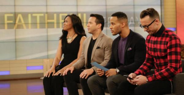 "(L-R) Priscilla Shirer, the Rev. Samuel Rodriguez, DeVon Franklin and pastor Carl Lentz on the set of ""The Dr. Oz Show"" to film a ""Faithful Fridays"" segment. (Photo: Lovell-Fairchild Communications)"