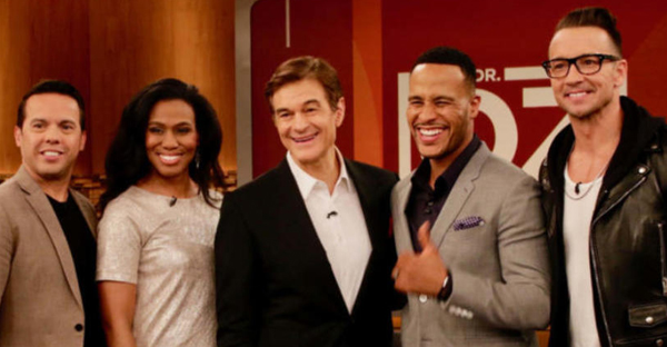 (L-R) The Rev. Samuel Rodriguez, Priscilla Shirer, Dr. Mehmet Oz, DeVon Franklin and pastor Carl Lentz. (Photo: Lovell-Fairchild Communications)