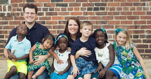 Shannon Dingle, featured here with her husband and six kids, resigned from her job with a Christian disability-advocacy organization after speaking openly about her opposition to Donald Trump. (Courtesy of Shannon Dingle)