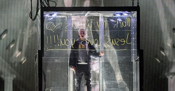 'Mark my words Jesus loves you!!!!' Hillsong devotee Justin Bieber, 23, once again reminded fans of his faith by broadcasting a Christian message during his Purpose concert in Sydney this Wednesday.