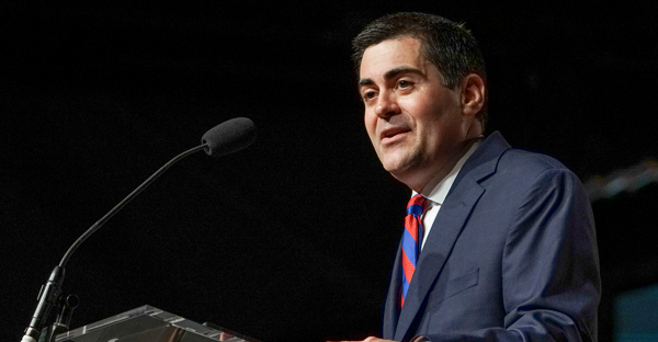 Russell Moore, president of the Ethics and Religious Liberty Commission, gives the entity's report during the annual meeting of the Southern Baptist Convention on June 15, 2016, in St. Louis. (Adam Covington/Baptist Press via RNS)