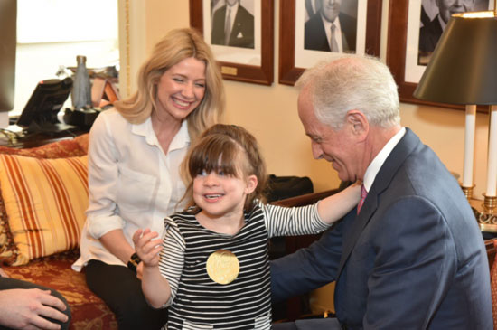 From left to right: Cameron James, Elise Shadinger and Senator Bob Corker