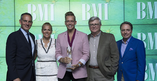 BMI's Mike O'Neill and Leslie Roberts, BMI Christian Music Songwriter of the Year Bernie Herms and BMI's Phil Graham and Jody Williams. (Photo by Steve Lowry)