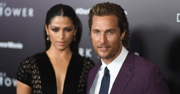 "Camila Alves and Matthew McConaughey attend the special screening of Columbia Pictures and MRC ""The Dark Tower"" at the Museum of Modern Art on July 31, 2017 in New York. (AFP PHOTO / ANGELA WEISS)"