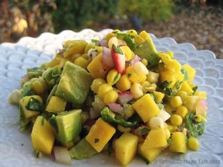 Mango Corn Salsa Over Lemony Chicken Breasts | © Urban Cottage Life.com