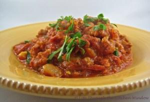 Spicy Sausage & Tomato Sauce   © Life Through the Kitchen Window.com