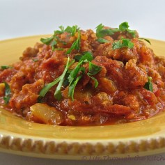 Spicy Sausage & Tomato Sauce | © Life Through the Kitchen Window.com