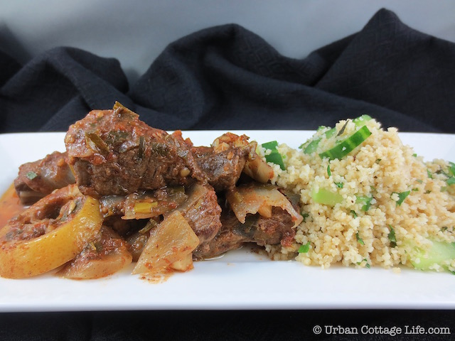Middle Eastern-Inspired Beef Stew with Cucumber Mint Couscous | © UrbanCottageLife.com