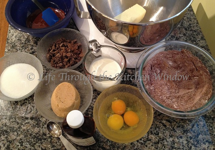Mise-en-place for Dorie Greenspan's Devil's Food White-Out Cake   © Life Through the Kitchen Window