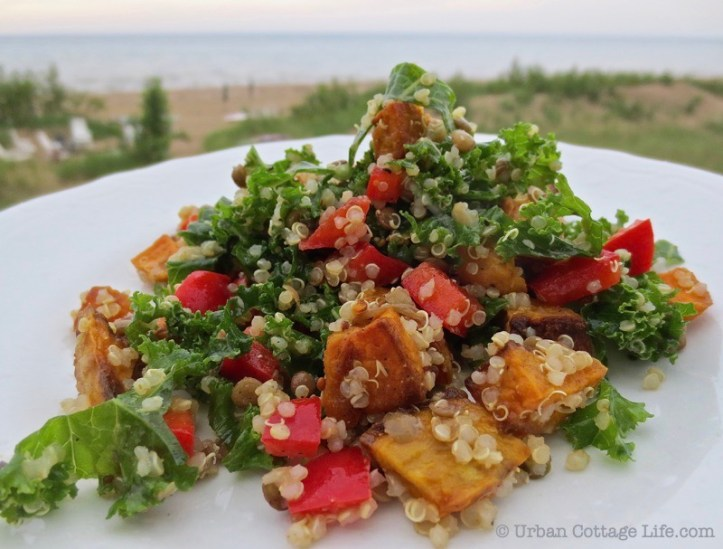 Side view of kale, quinoa and roasted sweet potato salad with bright pops of red pepper on a white plate, with the beach in the background.
