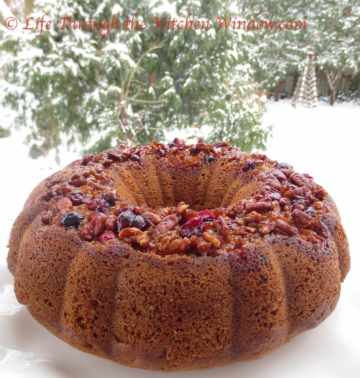 Pecan Coffee Cake With a Cranberry Pecan Topping ⎮ © Life Through the Kitchen Window.com