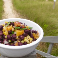 Black Bean, Corn & Peach Salad | © UrbanCottageLife.com