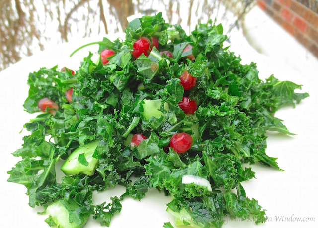Parsley & Kale Salad with Pomegranate │© Life Through the Kitchen Window.com