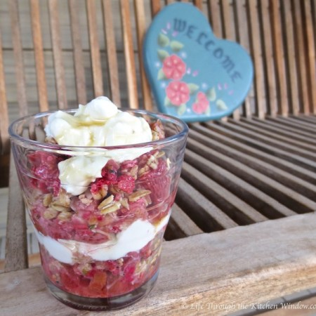 Strawberry Rhubarb Coconut Crisp Parfait | © Life Through the Kitchen Window.com