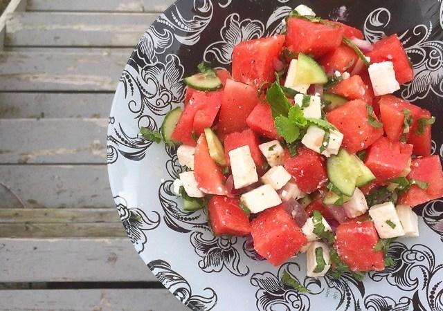 Watermelon Feta Salad with Lime Honey Dressing   © UrbanCottageLife.com