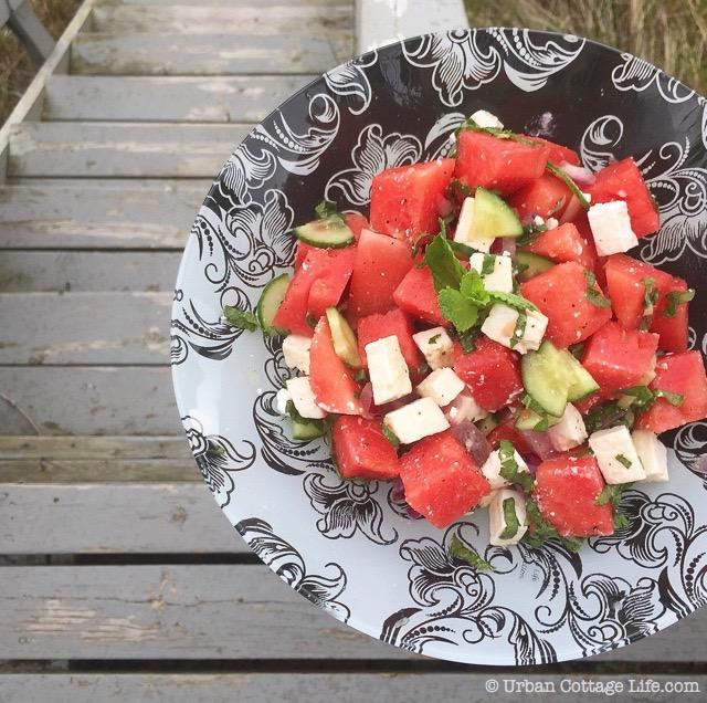 Watermelon Feta Salad with Lime Honey Dressing | © UrbanCottageLife.com