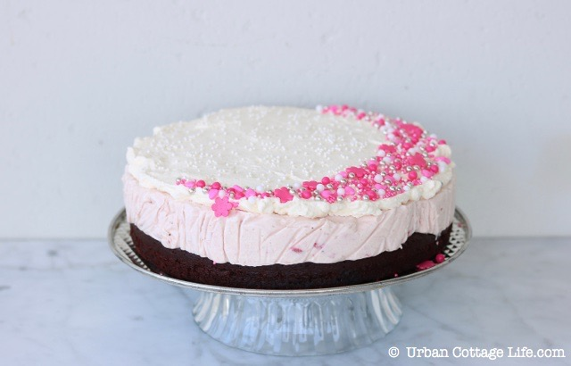 Chocolate Strawberry Ice Cream Cake | © UrbanCottageLife.com
