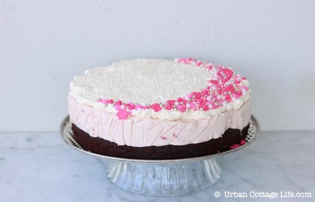 Chocolate Strawberry Ice Cream Cake | © UrbanCottageLife.com