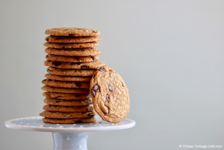 A stack of thin chocolate chip cookies with one leaning against the side of it