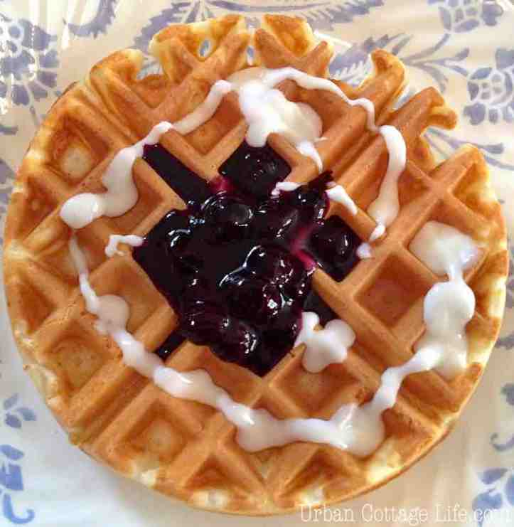 A Belgian waffle served with blueberry sauce and yogourt