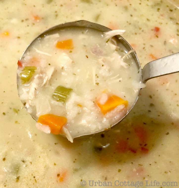 A ladle full of creamy chicken soup with bright orange carrots and green celery being scooped out of a pot.
