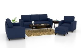 Urban Solid Wood Fabric 3+2+1 With Puffy Sofa Set,blue color