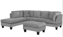 Urban Ang 103″ Wide Microfiber/Microsuede Reversible Sofa & Chaise with Ottoman by Urban Couch