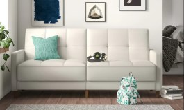 """Urban Benitez Twin 76"""" Wide Faux Leather Tufted Back Convertible Sofa"""