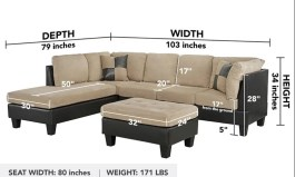 Urban Clyda 103″ Wide Microfiber/Microsuede Reversible Sofa & Chaise with Ottoman