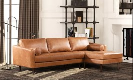 Urban Leopold 104.5″ Wide Genuine Leather Sofa & Chaise by Urban Couch