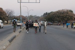 The Fans Celebrating a legend: Running from the Palour in Bulawayo to his Home in Mzilikazi