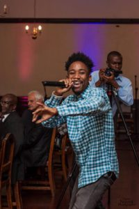 The Boy Asaph on stage at the launch