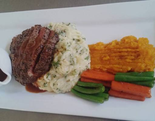Dinner: Herb mash, fillet steak, butternut puree and mixed veggies