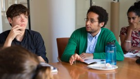 Gallatin Masters student Luis Aguasviva asks discusses colonialism and housing policy with Peter Moskowitz