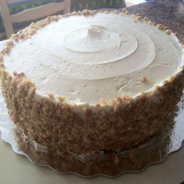 Coated sides of cake