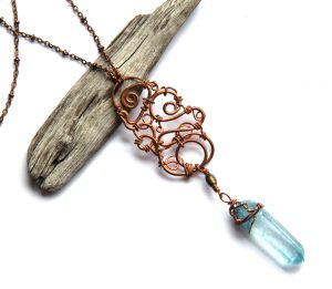 Bohemian Urban Eclectic Jewelry Handmade Costa Rica Wire Wrapped Copper Spiral Pendant and Blue Quartz Necklace