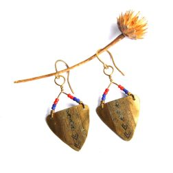 Tribal Stamped Brass Triangle Earrings