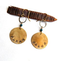 Tribal Stamped Brass Circle Earrings