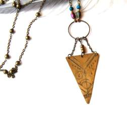 Etched Tribal Brass Triangle Necklace