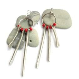 Silver Bar Fringe Earrings (red)